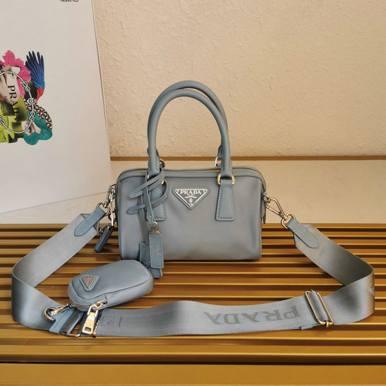 2020 Prada Re-Edition 2005 Nylon Top-handle Bag with Saffiano leather trim