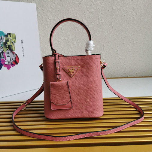 2020 Prada Small Panier Bag in Pink Saffiano Leather