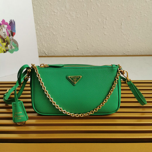 2020 Prada Re-Edition 2000 Shoulder Bag in Green Saffiano Leather