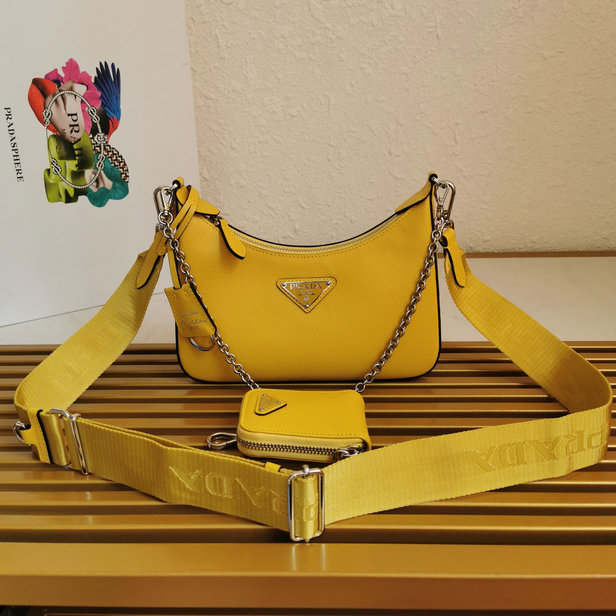 2020 Prada Re-Edition 2005 Saffiano Leather Bag in Yellow