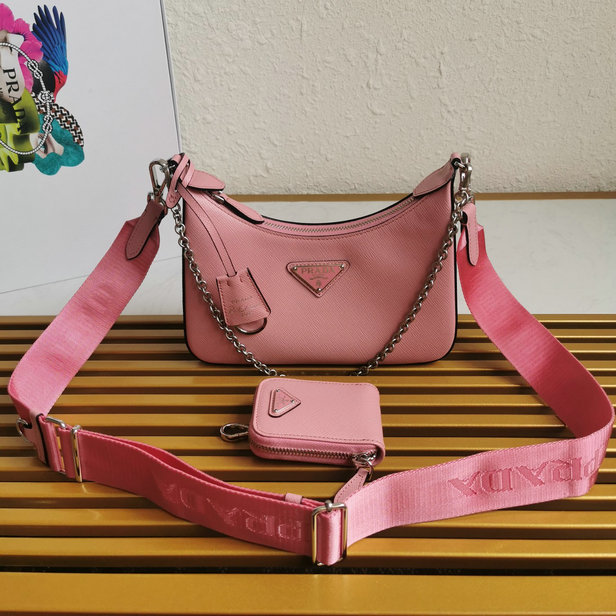 2020 Prada Re-Edition 2005 Saffiano Leather Bag in Pink