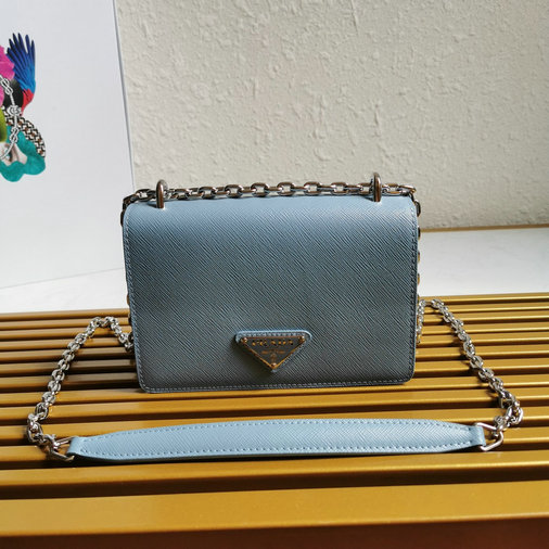 2020 Prada Nylon and Saffiano Leather Shoulder Bag in Astral Blue
