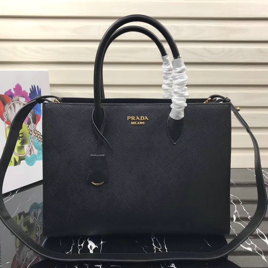 2020 Prada Large Saffiano Leather Tote Black with contrast color bellow sides