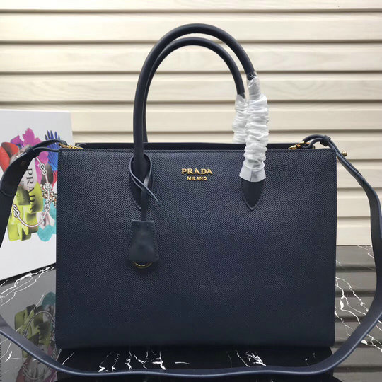 2020 Prada Large Saffiano Leather Tote Blue with contrast color bellow sides