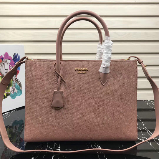 2020 Prada Large Saffiano Leather Tote with contrast color bellow sides