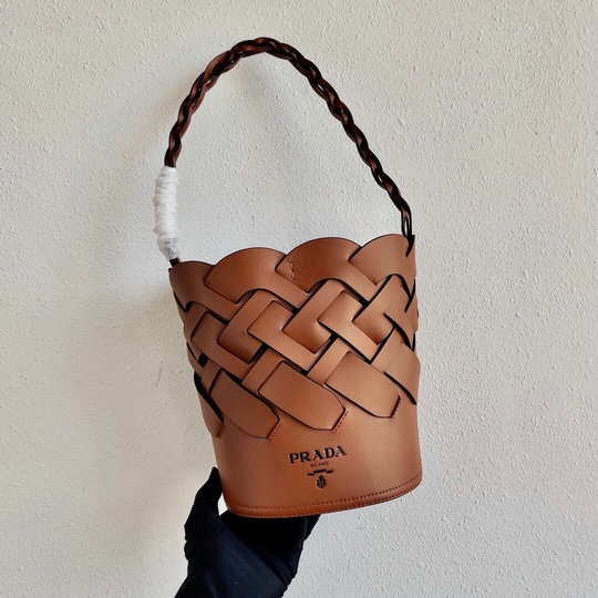 2020 Prada Tress Bucket Bag in Cognac Leather