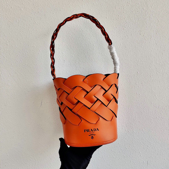 2020 Prada Tress Bucket Bag in Orange Leather