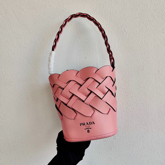 2020 Prada Tress Bucket Bag in Pink Leather