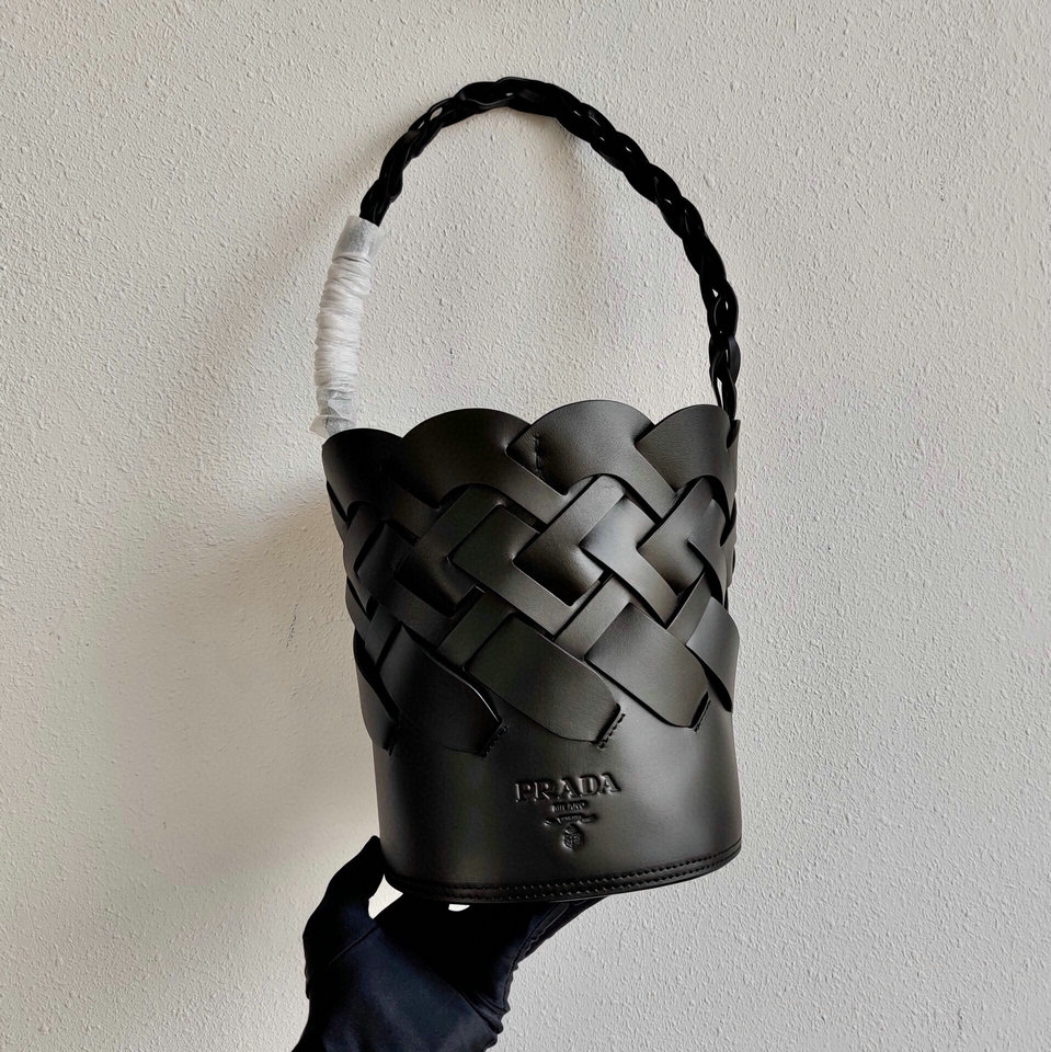 2020 Prada Tress Bucket Bag in Black Leather