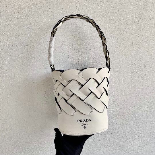 2020 Prada Tress Bucket Bag in White Leather