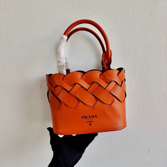 2020 Prada Tress Woven Tote Bag in Orange Leather