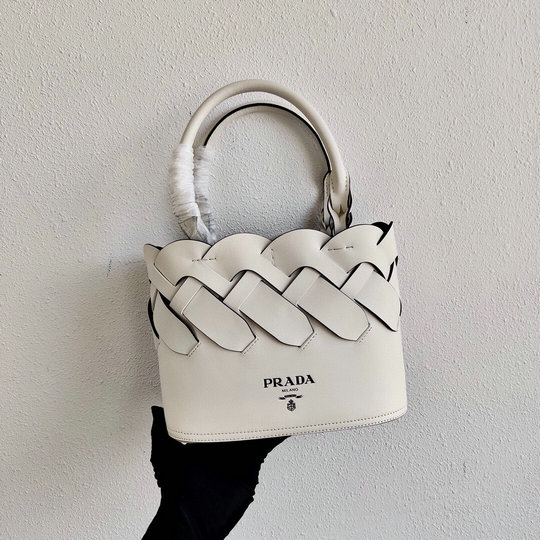 2020 Prada Tress Woven Tote Bag in White Leather