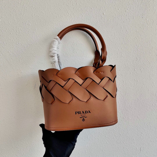 2020 Prada Tress Woven Tote Bag in Tan Leather