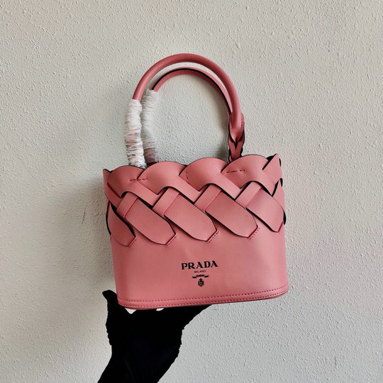 2020 Prada Tress Woven Tote Bag in Pink Leather