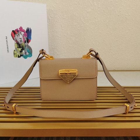 2021 Prada Symbole Bag in Beige Saffiano Leather
