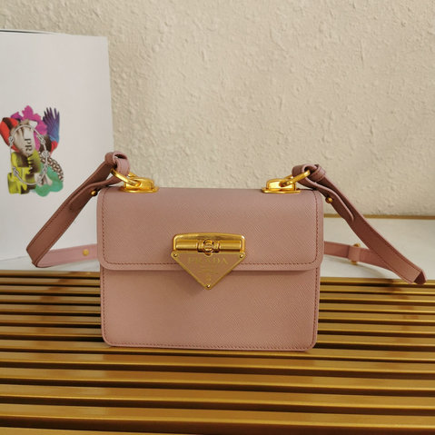 2021 Prada Symbole Bag in Pink Saffiano Leather