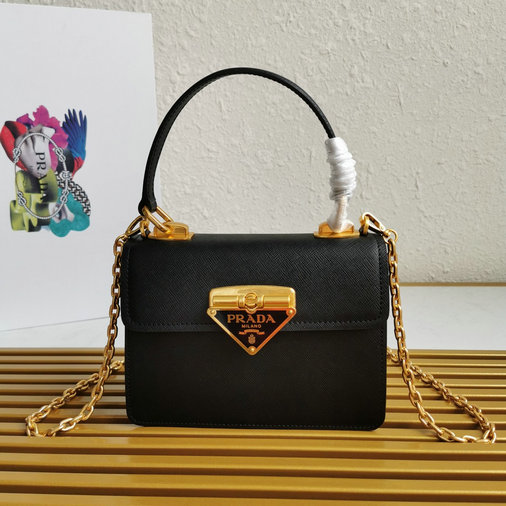 2021 Prada Symbole Bag in Black Saffiano Leather