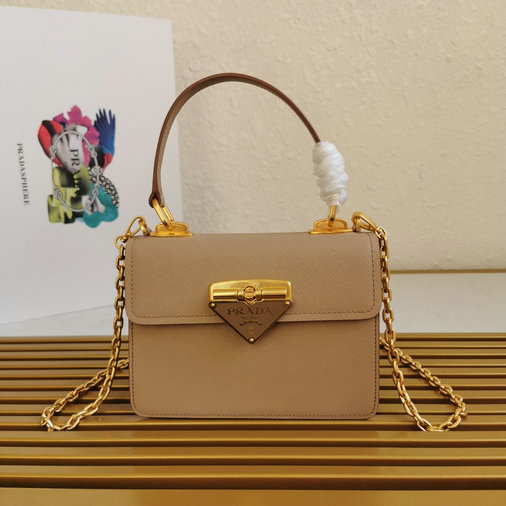2021 Prada Symbole Bag in Cameo Beige Saffiano Leather
