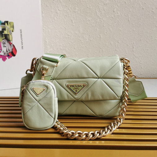 2021 Prada System Patchwork Bag in green nappa leather