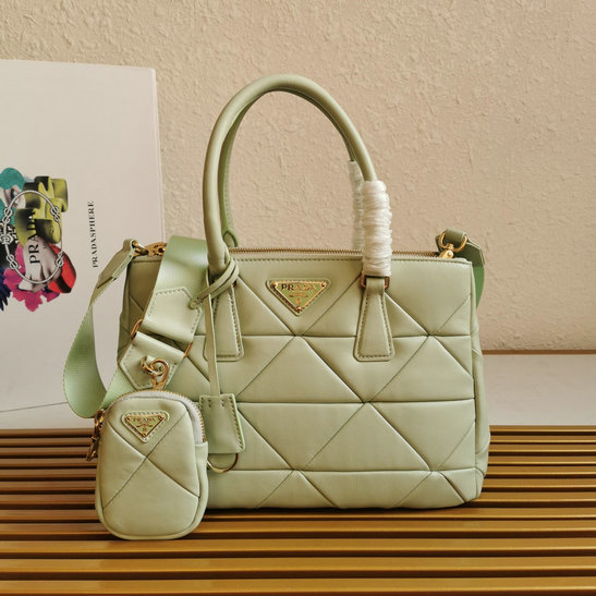 2021 Prada System Nappa Patchwork Tote Bag in Mint