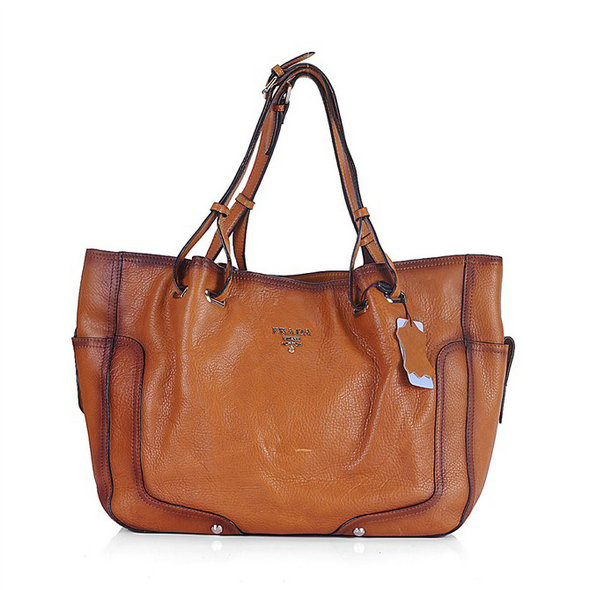 Prada Leather Tote Bag 1227 in Brown
