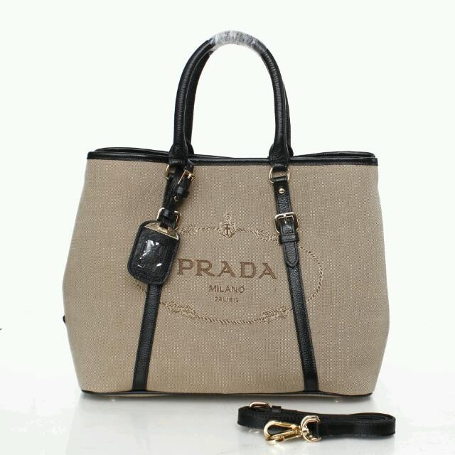 2512e87363f0 Cheap Prada Large Canvas Tote Bag BN1881 with Leather Trim [BN188101 ...