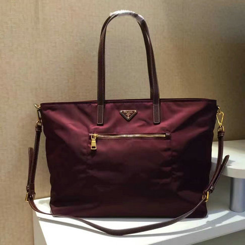 Classic Prada Nylon and Saffiano Leather Tote Bag BR4697 in Burgundy larger  image 0067a77ddaba3