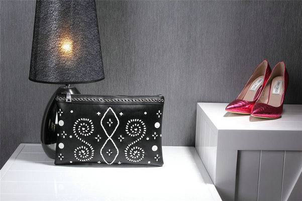 2014 Fall/Winter Prada Embroidered Leather Clutch in Black