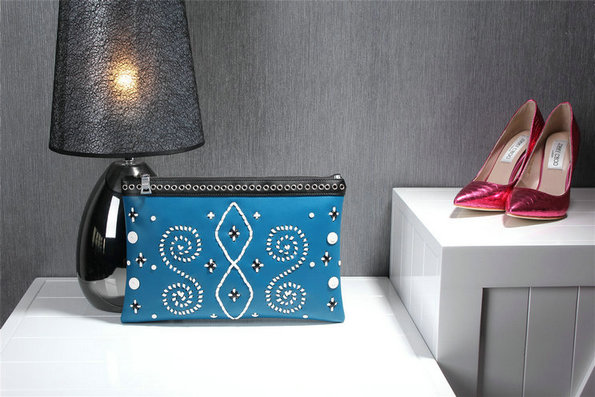 2014 Fall/Winter Prada Embroidered Leather Clutch in Blue