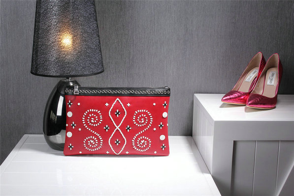 2014 Fall/Winter Prada Embroidered Leather Clutch in Red