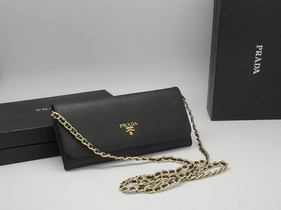 Iconic Prada Saffiano Chian Wallet 1M1290 in Black