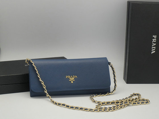 Iconic Prada Saffiano Chian Wallet 1M1290 in Blue
