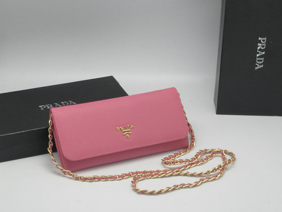 Iconic Prada Saffiano Chian Wallet 1M1290 in Pink