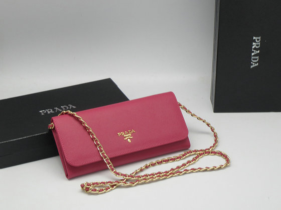 Iconic Prada Saffiano Chian Wallet 1M1290 in Peony Pink
