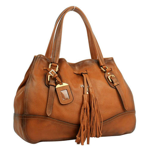 Prada Tassel Brown Shoulder Bag