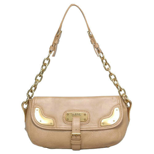Prada Small Shoulder Bag in Apricot Leather