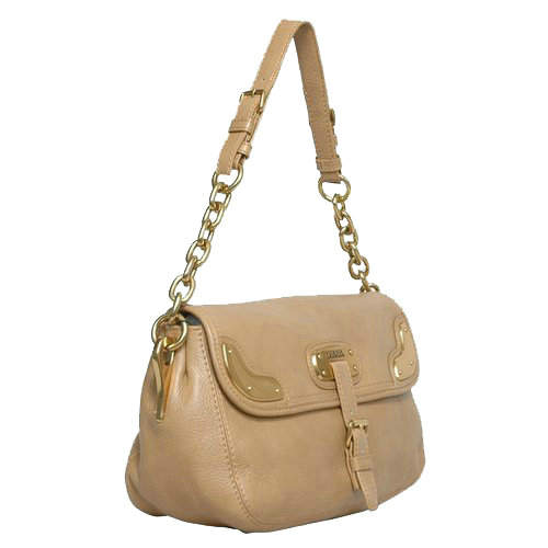 Prada Medium Shoulder Bag in Beige Leather