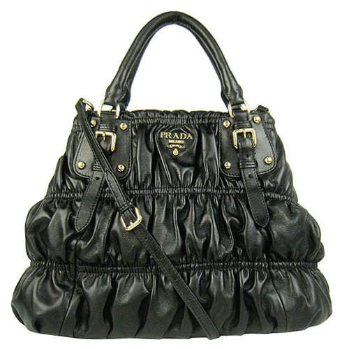 Prada Black Pleated Tote Bag