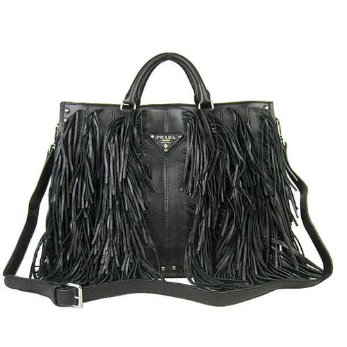 Prada Black Tassel Top Handles