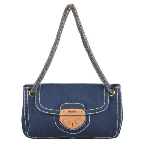 Prada Denim Small Shoulder Bag in Blue