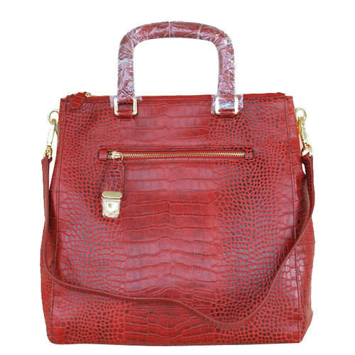 Prada Corcodile Pattern Red Top Handles