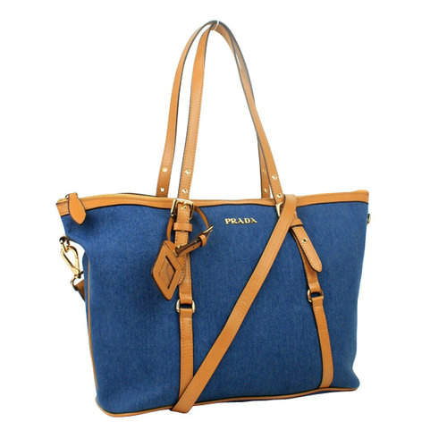Prada Denim Blue Brown Tote Bag
