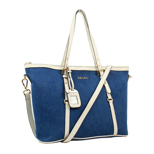 Prada Denim Blue White Tote Bag