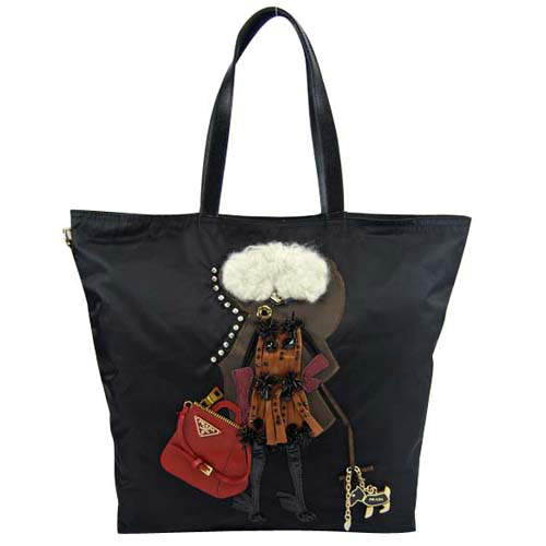 Prada Fashion Lady Image Black Abstract Tote Bag
