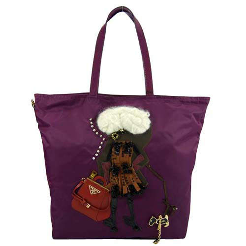 Prada Fashion Lady Image Purple Abstract Tote Bag