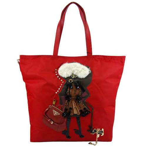 Prada Fashion Lady Image Red Abstract Tote Bag