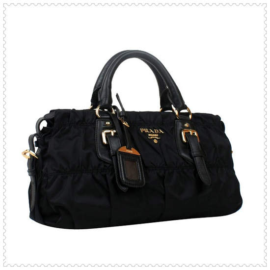 Prada Gaufre' Fabric Black Top Handle