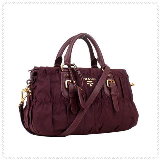 Prada Gaufre' Fabric Bordeaux Top Handle