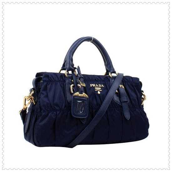 Prada Gaufre' Fabric Navy Blue Top Handle