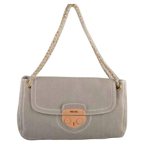 Prada Denim Small Shoulder Bag in Grey